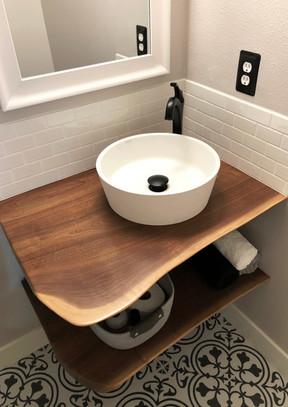 Custom live edge black walnut sink