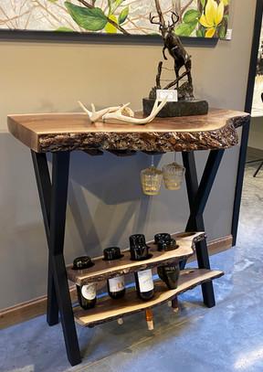 Live edge black walnut wine bar - SOLD
