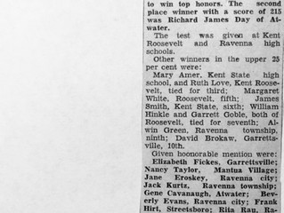 """REF 10 """"Robert Jones, Paris, First in County Scholarship Test"""" The Record -Courier, Ravenna-Kent, Oh"""