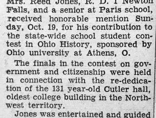 "REF 9 Ohio University History Contest ""Paris Senior Wins Honorable Mention"" The Record -Courier, Rav"