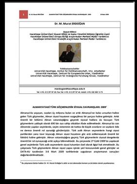 ALMANYA'DAKİ TÜRK GÖÇMENLERİN SİYASAL DAVRANIŞLARI: 2009
