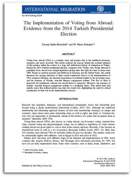 The Implementation of Voting from Abroad: Evidence from the 2014 Turkish Presidential Election
