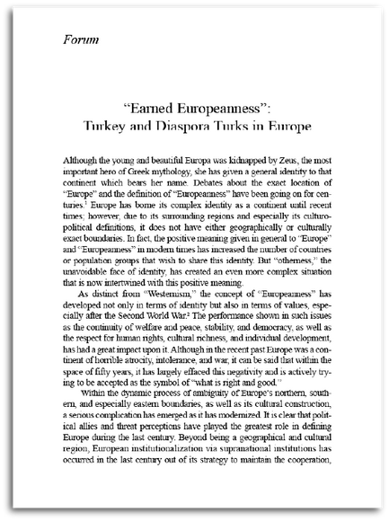 """Earned Europeanness"": Turkey and Diaspora Turks in Europe"