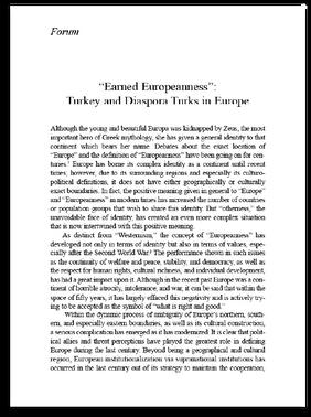 """Earned Europeanness"": Turkey and Diaspora Turks in Europe"