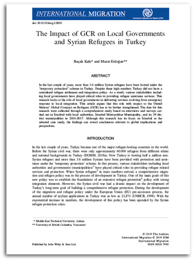 The Impact of GCR on Local Governments and Syrian Refugees in Turkey