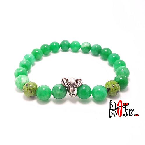 """""""სპილო"""" მწვანე აგატის სამაჯური"""