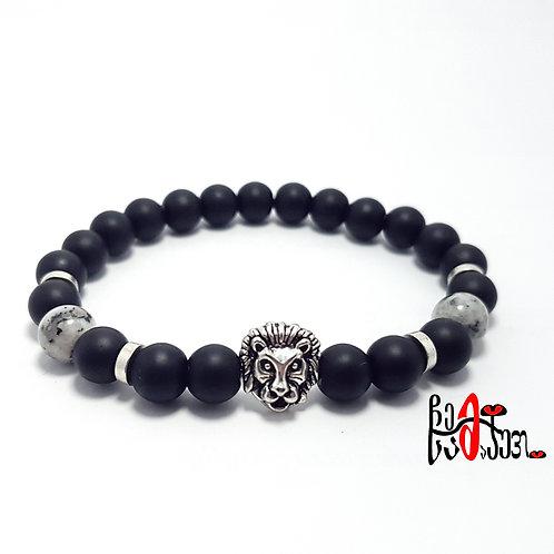 """Lion"" Onyx and Agate beaded bracelet"