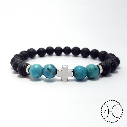 """Cross"" Turquoise and Lava beaded bracelet"