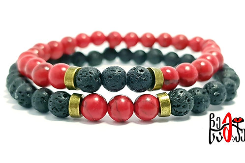 Red Turquoise and Lava Beaded Bracelet for Couples