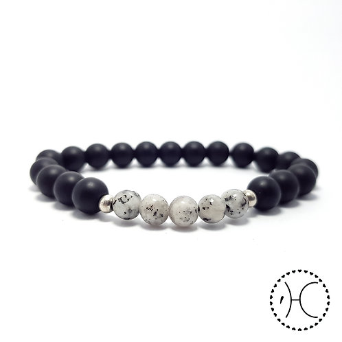 Agate and Onyx beaded bracelet