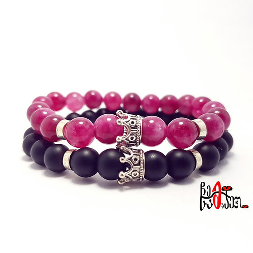 King & Queen Agate and Onyx beaded bracelet