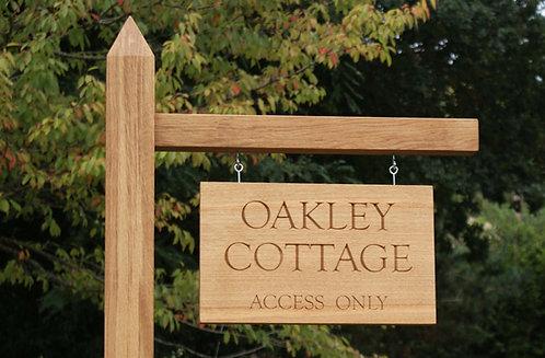 Oak Hanging Sign on Post 1.8m