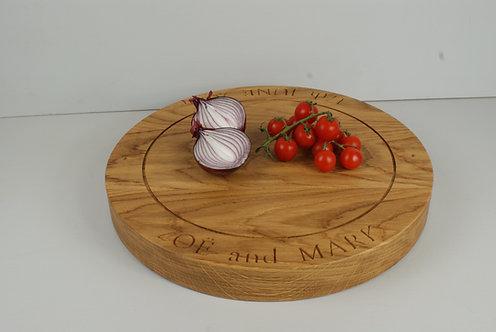Oak Round (top engraved) Board