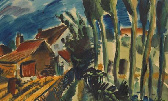 Carl Rabus, Landschaft mit Bauernhäusern, 47 x 60 cm