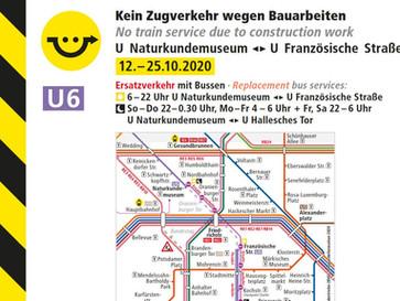 U6 mit Einschränkungen in Mitte unterwegs