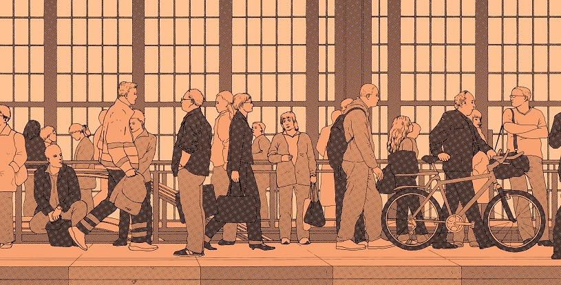 Bahnhof Friedrichstraße von Robert Stumpf, Ink-Jet-Fotodruck auf Künstlerpapier, 2006, Ausschnitt.