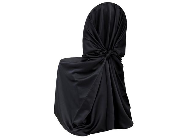 black universal satin chair covers
