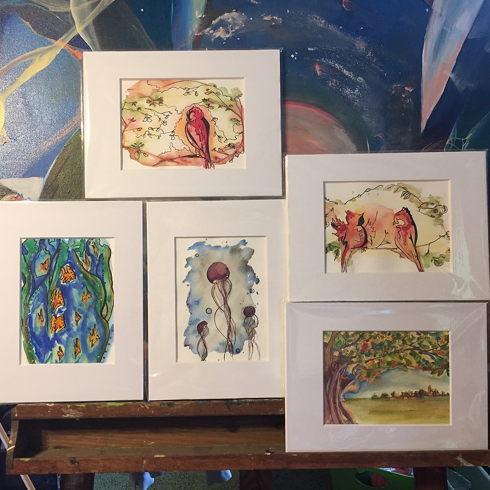 Mini watercolor illustrations by Paige Hannah Vargo-Willeford PHV-W local artist at artists' cooperative gallery of westerly ACGOW