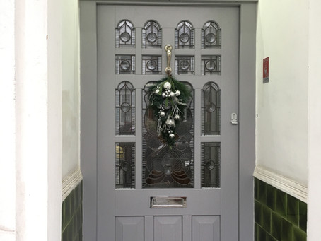 Hardwood Front Door With Original Stained Leaded Glass