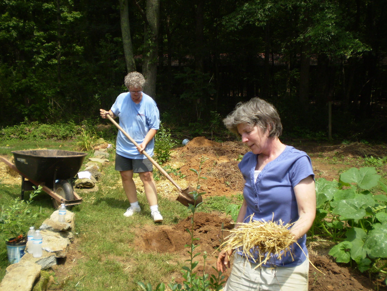 Becky & Lynneplanting blueberries