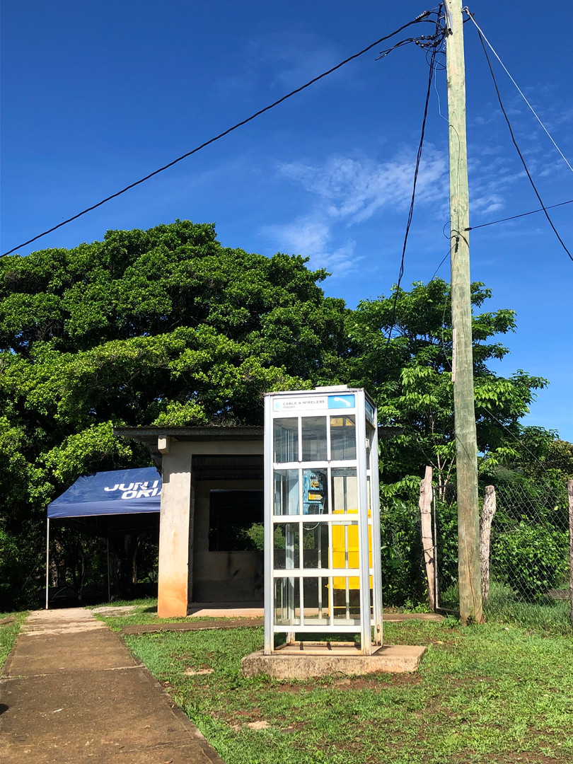 phone cabin in front of the school