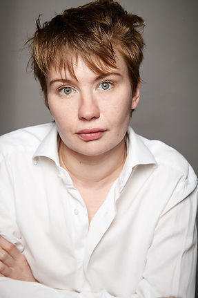Actor headshot in a white shirt lucy emily goldie photography