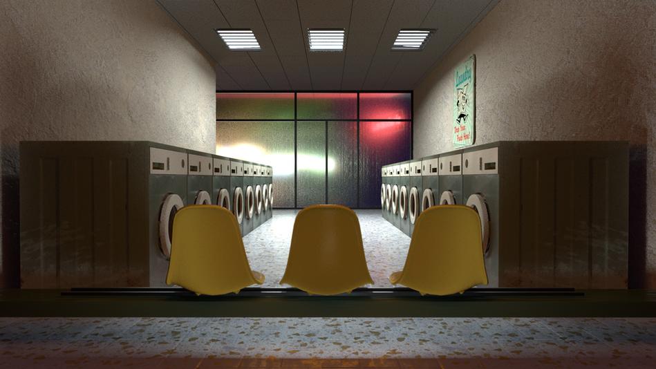 Laundromat interior