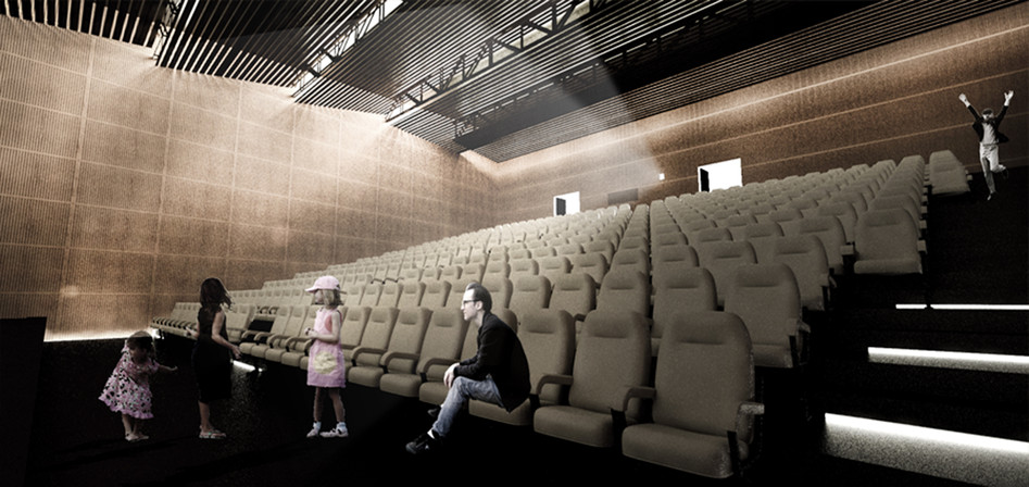 Interior rendering - screening room
