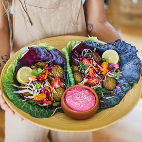 Rainbow Recipe: Herby Slaw with Falafel and Beetroot Tzatziki