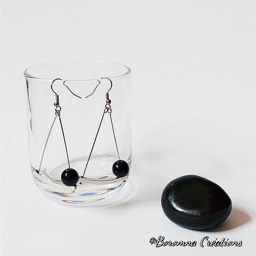 Boucles d'Oreilles Energy Obsidienne Noire
