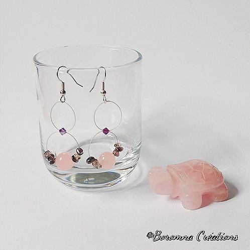 Boucles d'Oreilles Lem Quartz Rose