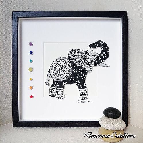 Tableau Eléphant Chakras et Sri Yantra