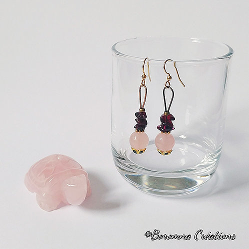 Boucles d'Oreilles Jan Quartz Rose
