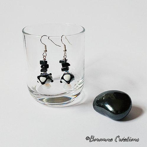 Boucles d'Oreilles Bolly Noir et Blanc