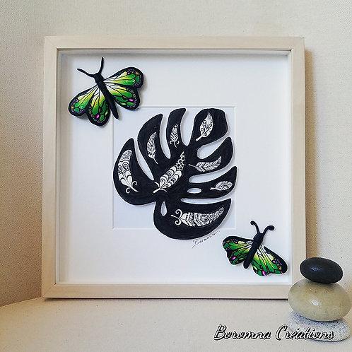 Tableau Philodendron Plumes et Papillons verts