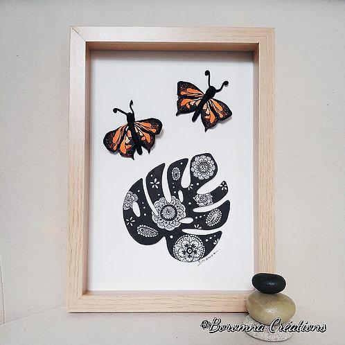 Tableau Philodendron et Papillons oranges