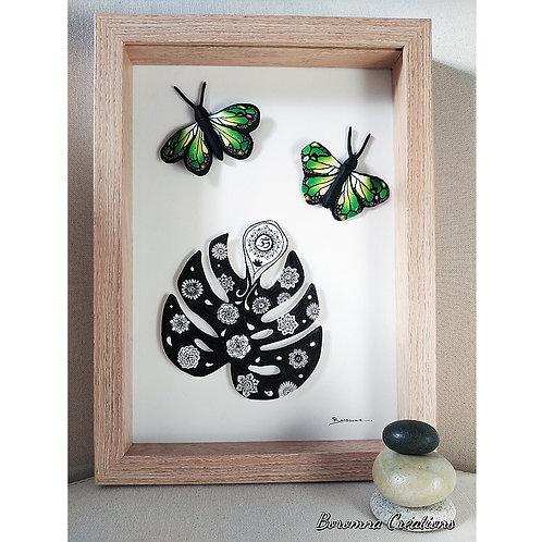 Tableau Philodendron et Papillons verts