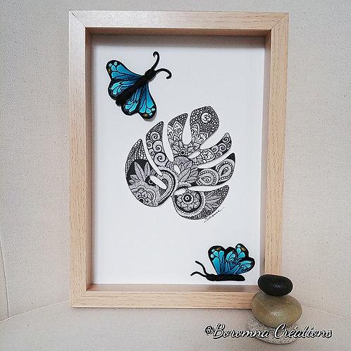Tableau Philodendron et Papillons bleus