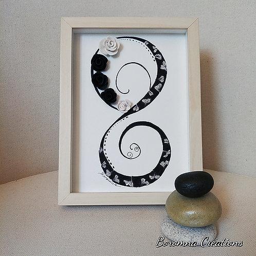 Petit Tableau Zen Infini - Roses Noires et blanches