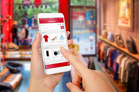 Smart phone online shopping in woman han