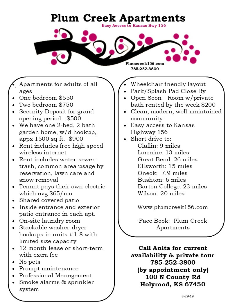 Plum Creek Apts flyer