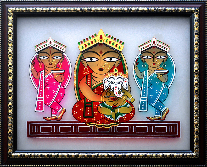 [CA201] Jamini Roy's Parvati and Ganesha with Lakshmi and Swaraswati