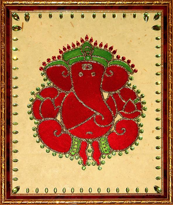 [CA302] Ganesha Motif in Maroon