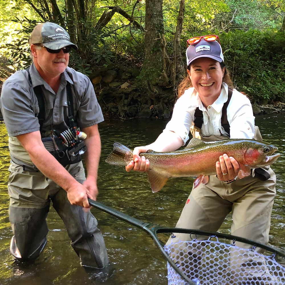 Landing A BIG Rainbow Trout on a Guided Fly Fishing Trip