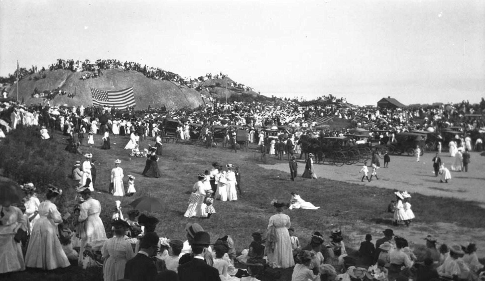 Dedication of Tablet Rock at Stage Fort Park. August 1907