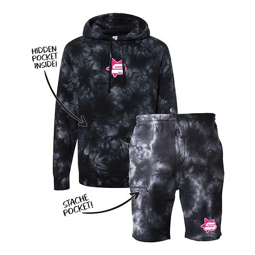 Tie Dye Hoshi Stache Sweatsuit - Black
