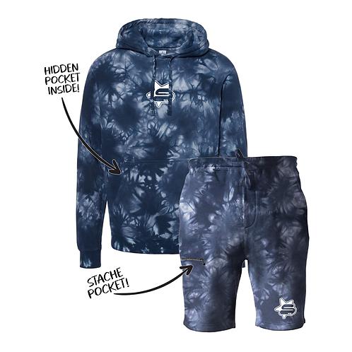 Tie Dye Hoshi Stache Sweatsuit - Navy