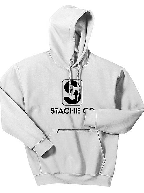 Classic Stache Hoodie - Black on White