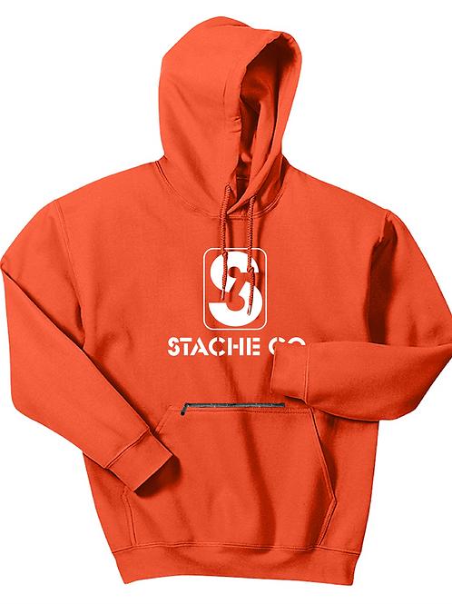 Classic Stache Hoodie - White on Orange