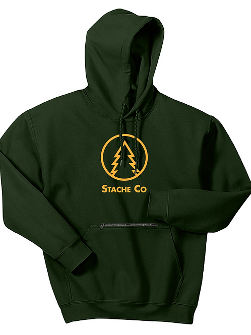 Pine Tree Stache Hoodie - Gold on Forest